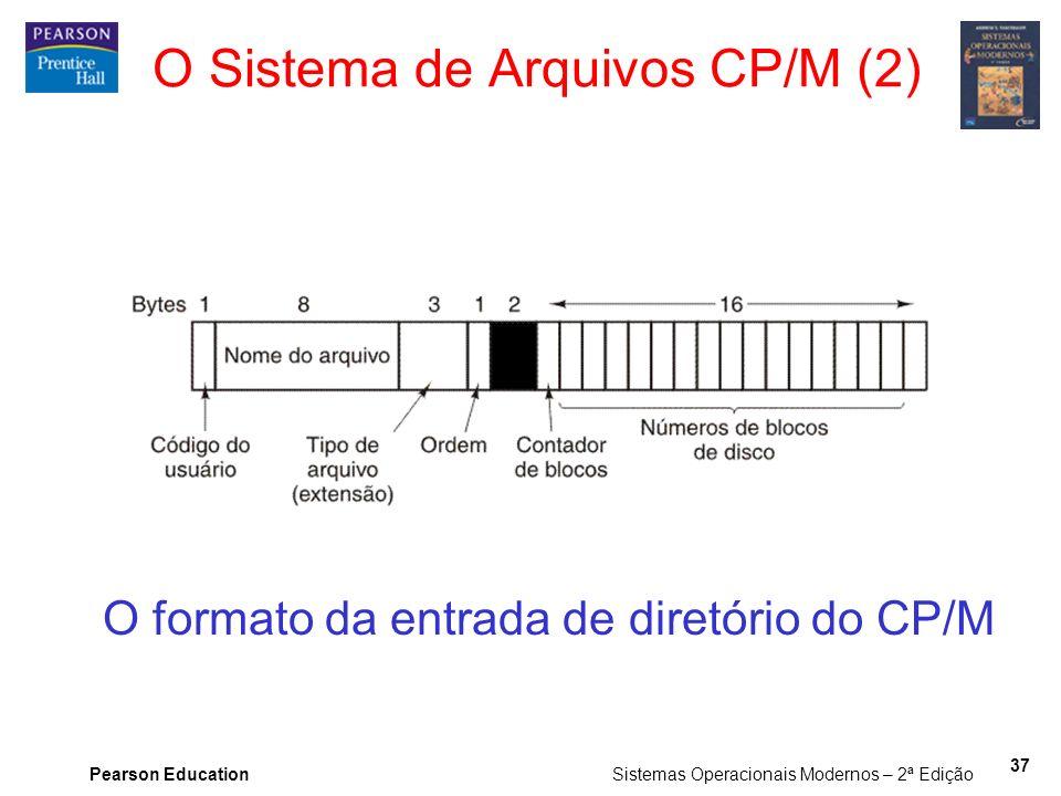 Pearson Education Sistemas Operacionais Modernos – 2ª Edição 37 O formato da entrada de diretório do CP/M O Sistema de Arquivos CP/M (2)