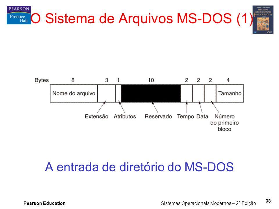 Pearson Education Sistemas Operacionais Modernos – 2ª Edição 38 O Sistema de Arquivos MS-DOS (1) A entrada de diretório do MS-DOS