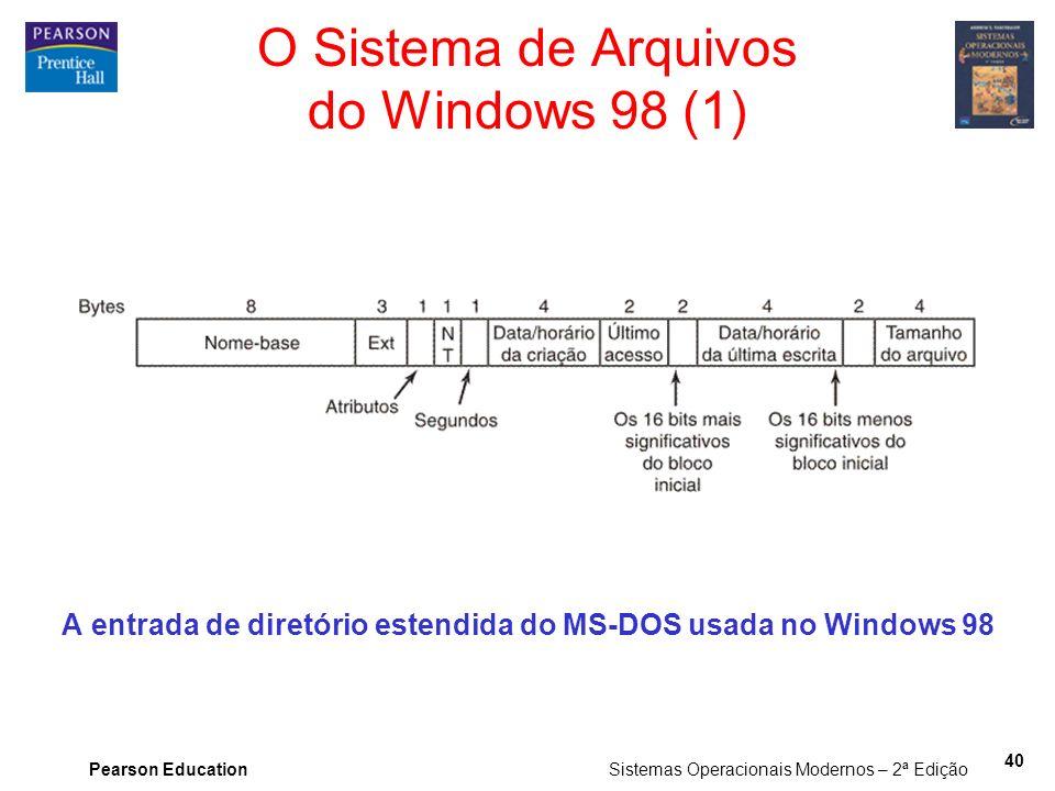 Pearson Education Sistemas Operacionais Modernos – 2ª Edição 40 O Sistema de Arquivos do Windows 98 (1) A entrada de diretório estendida do MS-DOS usa