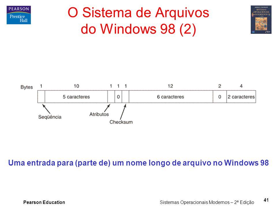 Pearson Education Sistemas Operacionais Modernos – 2ª Edição 41 Uma entrada para (parte de) um nome longo de arquivo no Windows 98 O Sistema de Arquiv