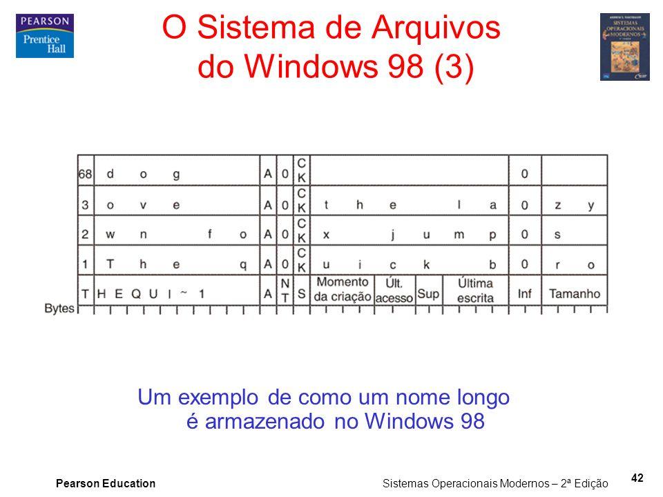 Pearson Education Sistemas Operacionais Modernos – 2ª Edição 42 Um exemplo de como um nome longo é armazenado no Windows 98 O Sistema de Arquivos do W