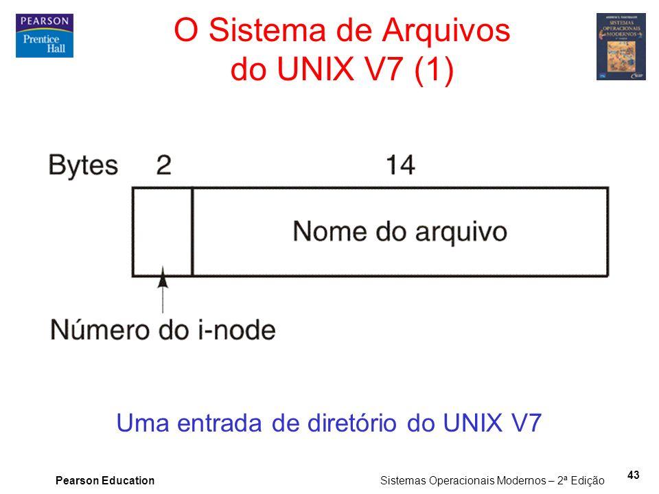 Pearson Education Sistemas Operacionais Modernos – 2ª Edição 43 O Sistema de Arquivos do UNIX V7 (1) Uma entrada de diretório do UNIX V7