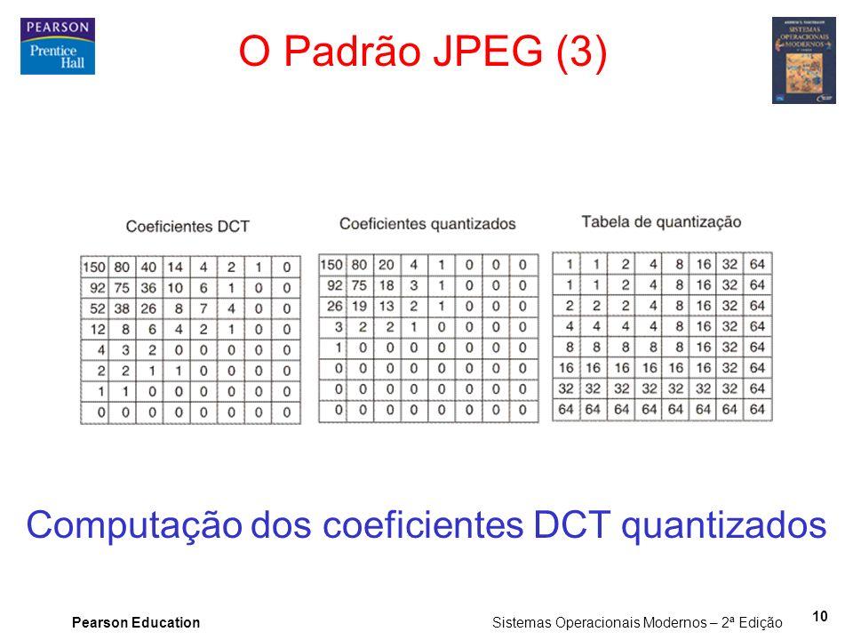 Pearson Education Sistemas Operacionais Modernos – 2ª Edição 10 O Padrão JPEG (3) Computação dos coeficientes DCT quantizados