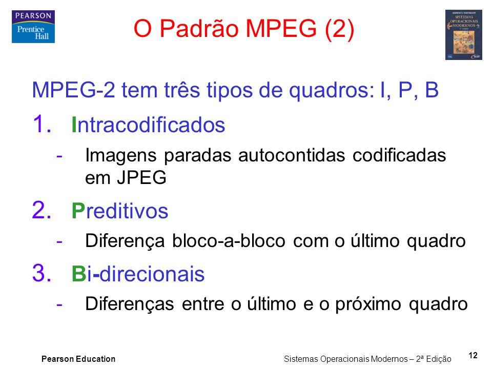 Pearson Education Sistemas Operacionais Modernos – 2ª Edição 12 O Padrão MPEG (2) MPEG-2 tem três tipos de quadros: I, P, B 1. Intracodificados -Image