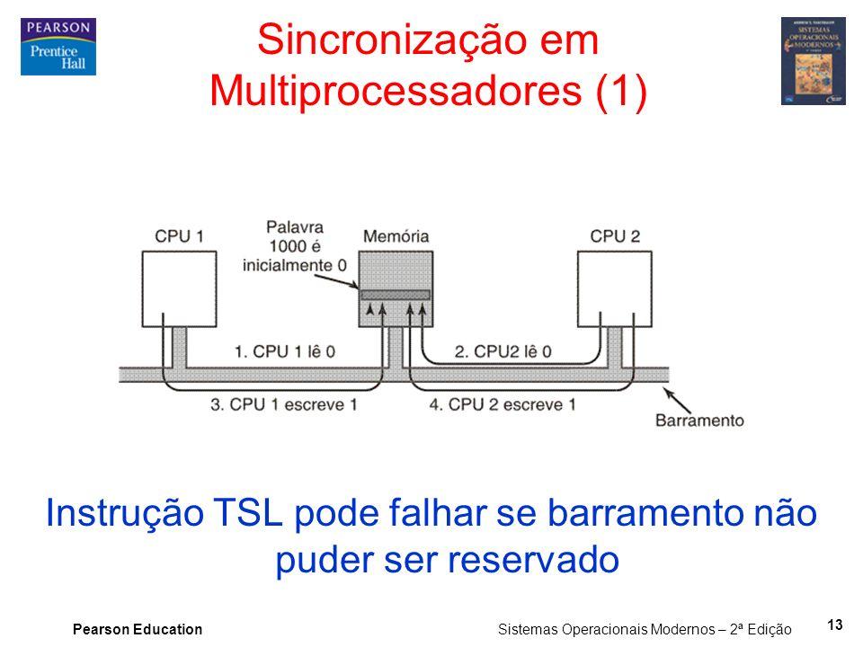 Pearson Education Sistemas Operacionais Modernos – 2ª Edição Sincronização em Multiprocessadores (1) Instrução TSL pode falhar se barramento não puder