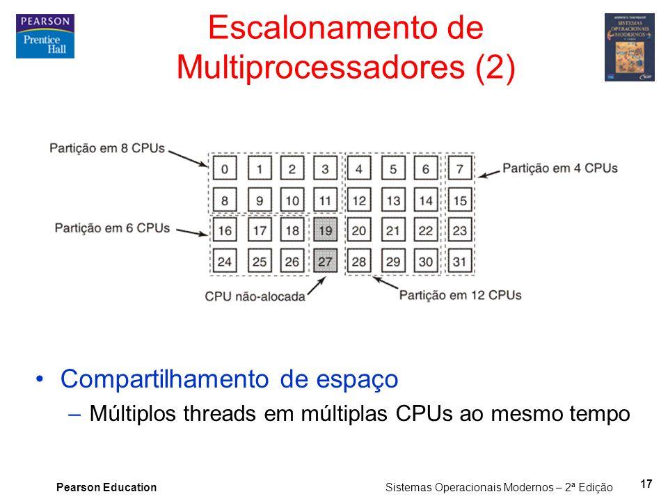 Pearson Education Sistemas Operacionais Modernos – 2ª Edição Compartilhamento de espaço –Múltiplos threads em múltiplas CPUs ao mesmo tempo Escaloname
