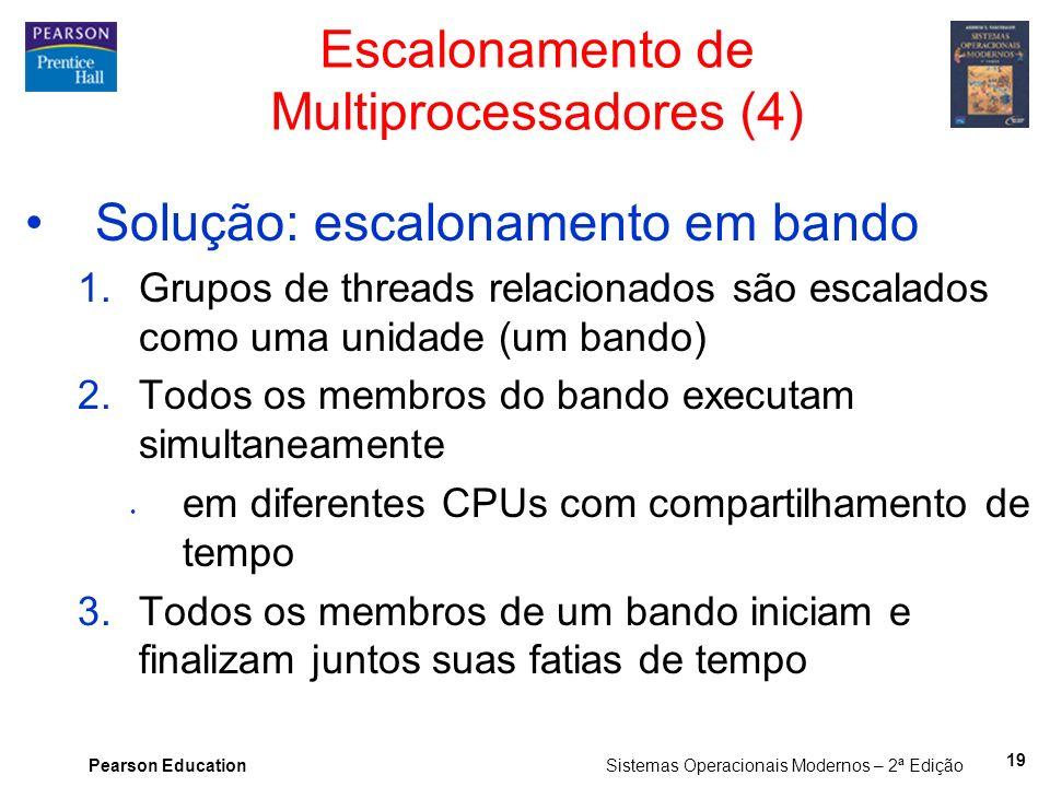 Pearson Education Sistemas Operacionais Modernos – 2ª Edição Solução: escalonamento em bando 1.Grupos de threads relacionados são escalados como uma u