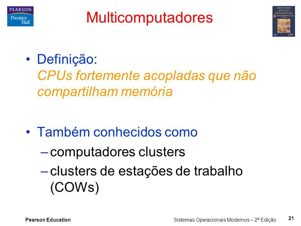 Pearson Education Sistemas Operacionais Modernos – 2ª Edição Multicomputadores Definição: CPUs fortemente acopladas que não compartilham memória També