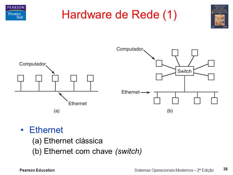 Pearson Education Sistemas Operacionais Modernos – 2ª Edição Hardware de Rede (1) Ethernet (a) Ethernet clássica (b) Ethernet com chave (switch) 38