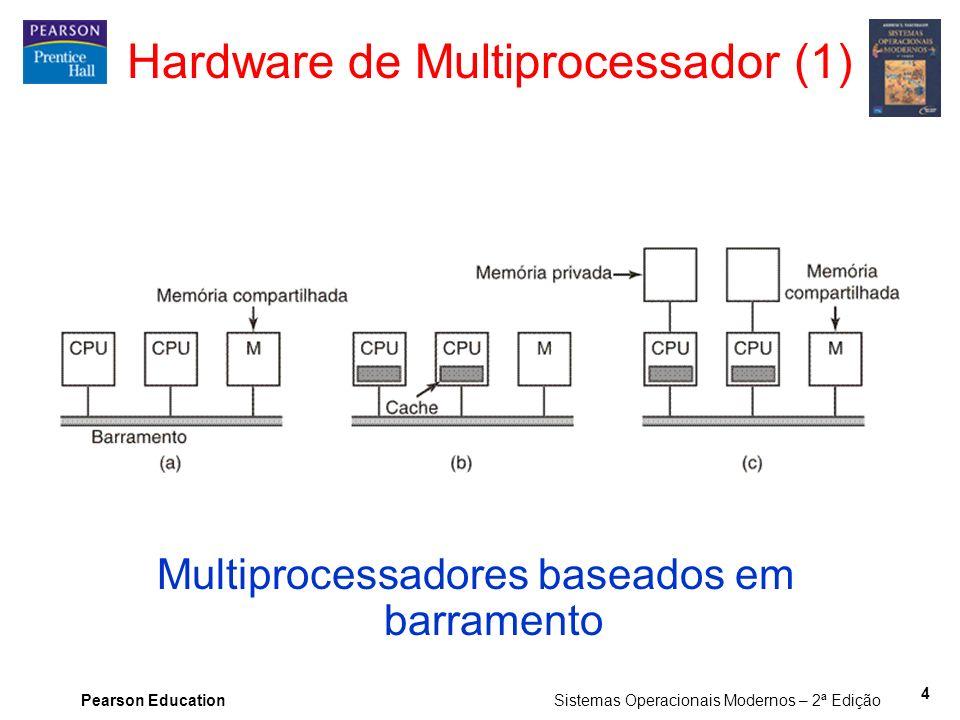 Pearson Education Sistemas Operacionais Modernos – 2ª Edição 4 Hardware de Multiprocessador (1) Multiprocessadores baseados em barramento