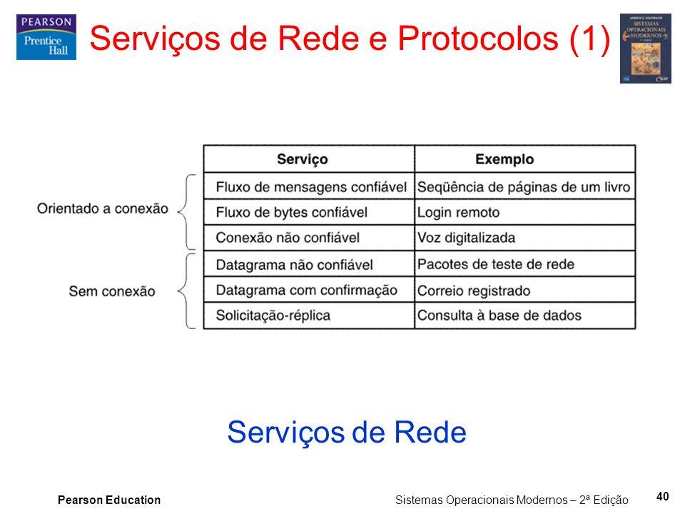 Pearson Education Sistemas Operacionais Modernos – 2ª Edição Serviços de Rede e Protocolos (1) Serviços de Rede 40