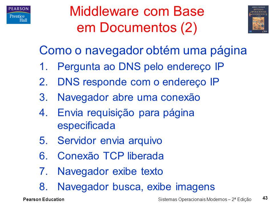 Pearson Education Sistemas Operacionais Modernos – 2ª Edição Como o navegador obtém uma página 1.Pergunta ao DNS pelo endereço IP 2.DNS responde com o