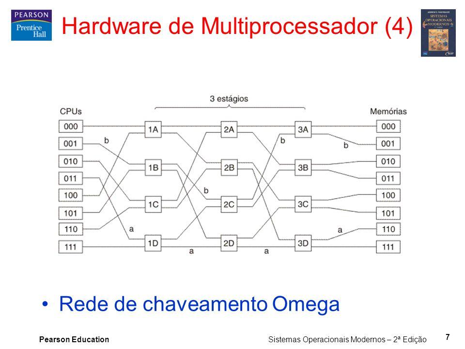 Pearson Education Sistemas Operacionais Modernos – 2ª Edição Hardware de Multiprocessador (4) Rede de chaveamento Omega 7