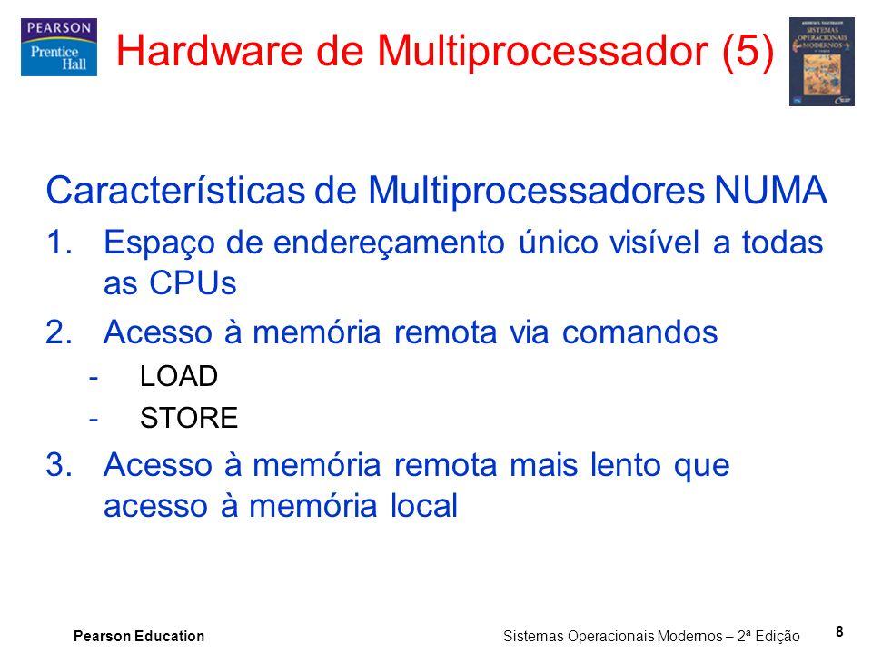 Pearson Education Sistemas Operacionais Modernos – 2ª Edição Hardware de Multiprocessador (5) Características de Multiprocessadores NUMA 1.Espaço de e