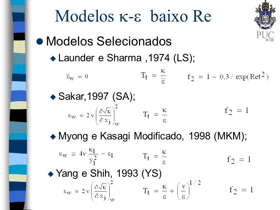 Modelos - baixo Re l Modelos Selecionados u Launder e Sharma,1974 (LS); u Yang e Shih, 1993 (YS) u Myong e Kasagi Modificado, 1998 (MKM); u Sakar,1997