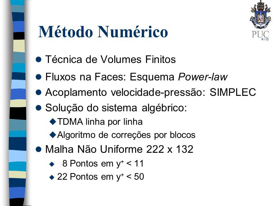 l Técnica de Volumes Finitos l Fluxos na Faces: Esquema Power-law l Acoplamento velocidade-pressão: SIMPLEC l Solução do sistema algébrico: u TDMA lin