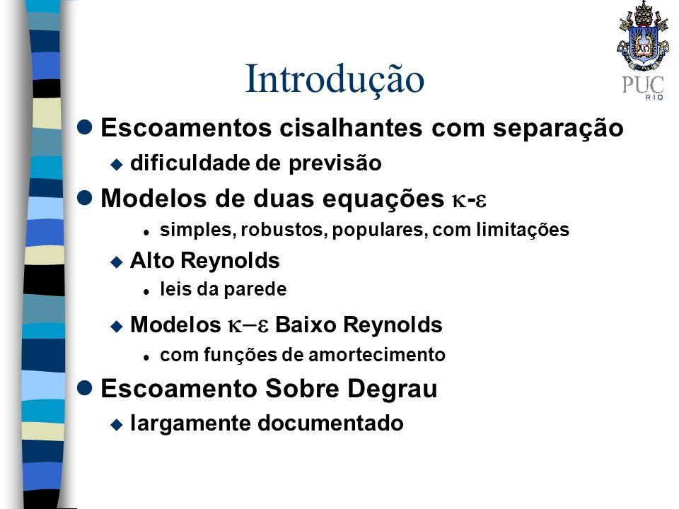 Introdução lEscoamentos cisalhantes com separação u dificuldade de previsão lModelos de duas equações - l simples, robustos, populares, com limitações