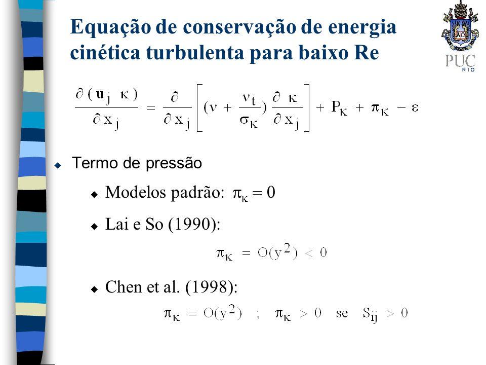 u Termo de pressão Equação de conservação de energia cinética turbulenta para baixo Re Modelos padrão: u Lai e So (1990): u Chen et al. (1998):