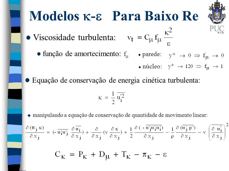 Modelos - Para Baixo Re l Viscosidade turbulenta: l Equação de conservação de energia cinética turbulenta: função de amortecimento: f parede: núcleo: