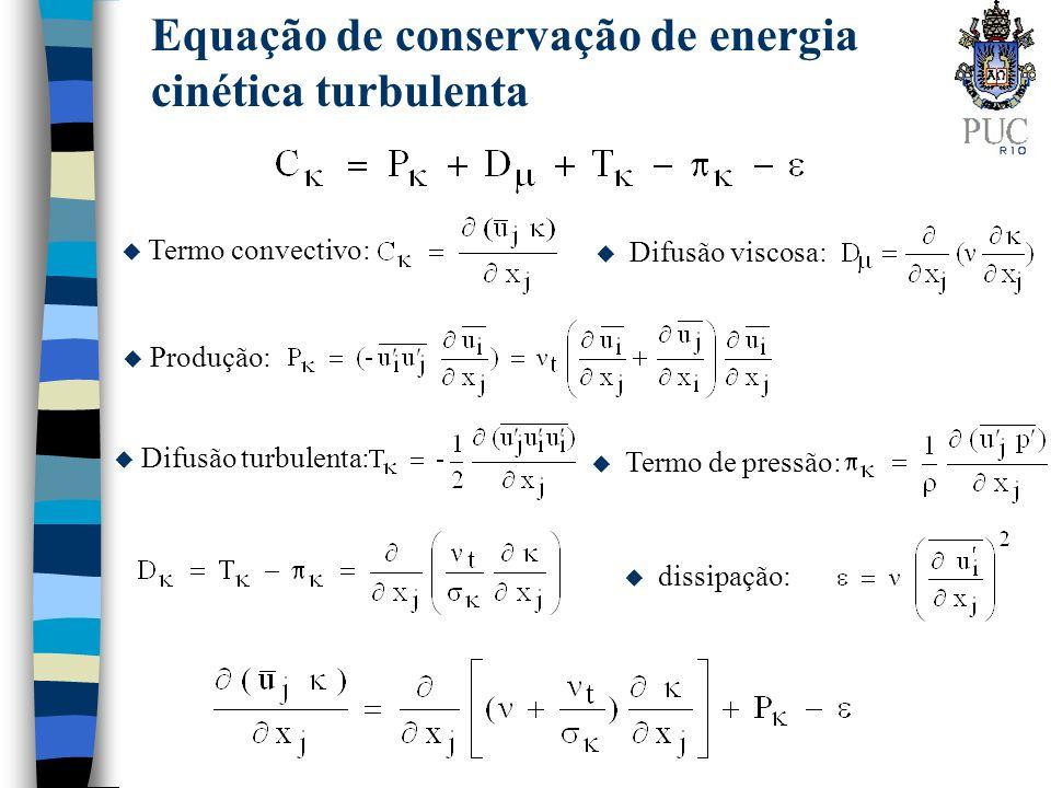 Equação de conservação de dissipação de energia cinética turbulenta para baixo Re u manipulando a equação de conservação de quantidade de movimento linear, e introduzindo diversas aproximações e correlações empíricas: igual a dissipação ou pseudo dissipação u T t escala de tempo u f 2 fator de amortecimento termo de correção, correlações empíricas
