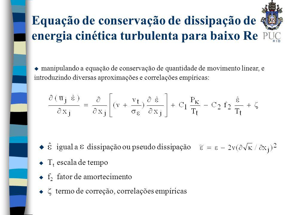 Equação de conservação de dissipação de energia cinética turbulenta para baixo Re u manipulando a equação de conservação de quantidade de movimento li