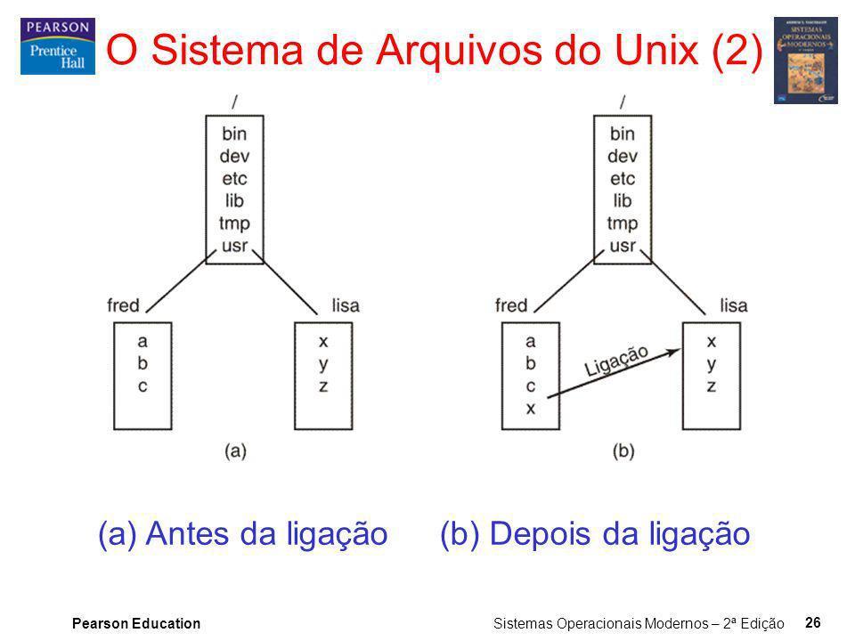 Pearson Education Sistemas Operacionais Modernos – 2ª Edição 26 (a) Antes da ligação (b) Depois da ligação O Sistema de Arquivos do Unix (2)