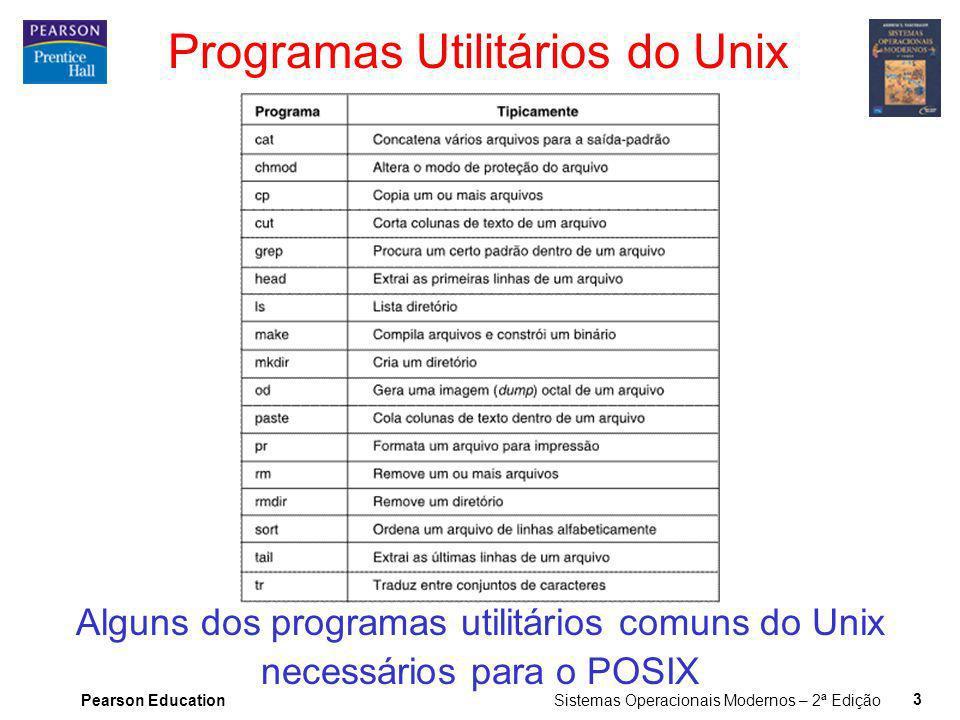 Pearson Education Sistemas Operacionais Modernos – 2ª Edição 3 Programas Utilitários do Unix Alguns dos programas utilitários comuns do Unix necessári