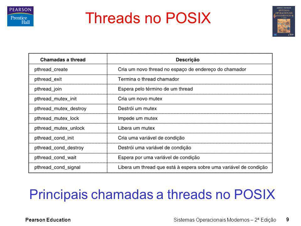 Pearson Education Sistemas Operacionais Modernos – 2ª Edição 9 Threads no POSIX Principais chamadas a threads no POSIX
