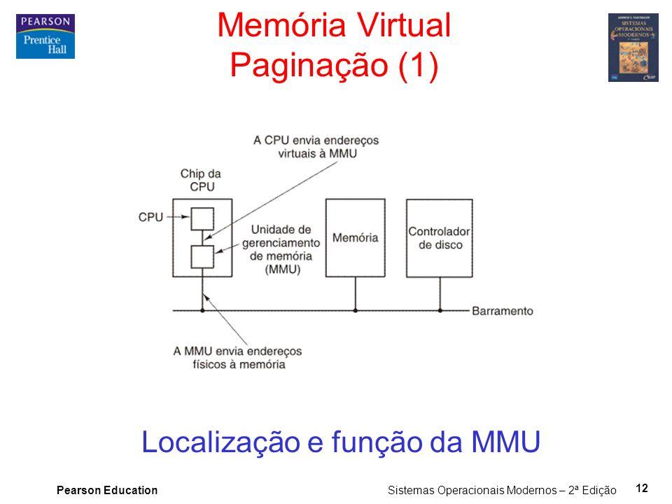 Pearson Education Sistemas Operacionais Modernos – 2ª Edição 12 Memória Virtual Paginação (1) Localização e função da MMU