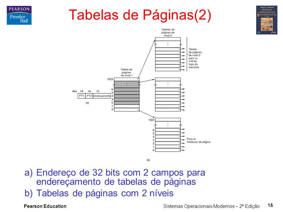 Pearson Education Sistemas Operacionais Modernos – 2ª Edição 15 Tabelas de Páginas(2) a)Endereço de 32 bits com 2 campos para endereçamento de tabelas de páginas b)Tabelas de páginas com 2 níveis