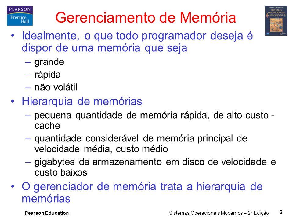 Pearson Education Sistemas Operacionais Modernos – 2ª Edição 2 Gerenciamento de Memória Idealmente, o que todo programador deseja é dispor de uma memó