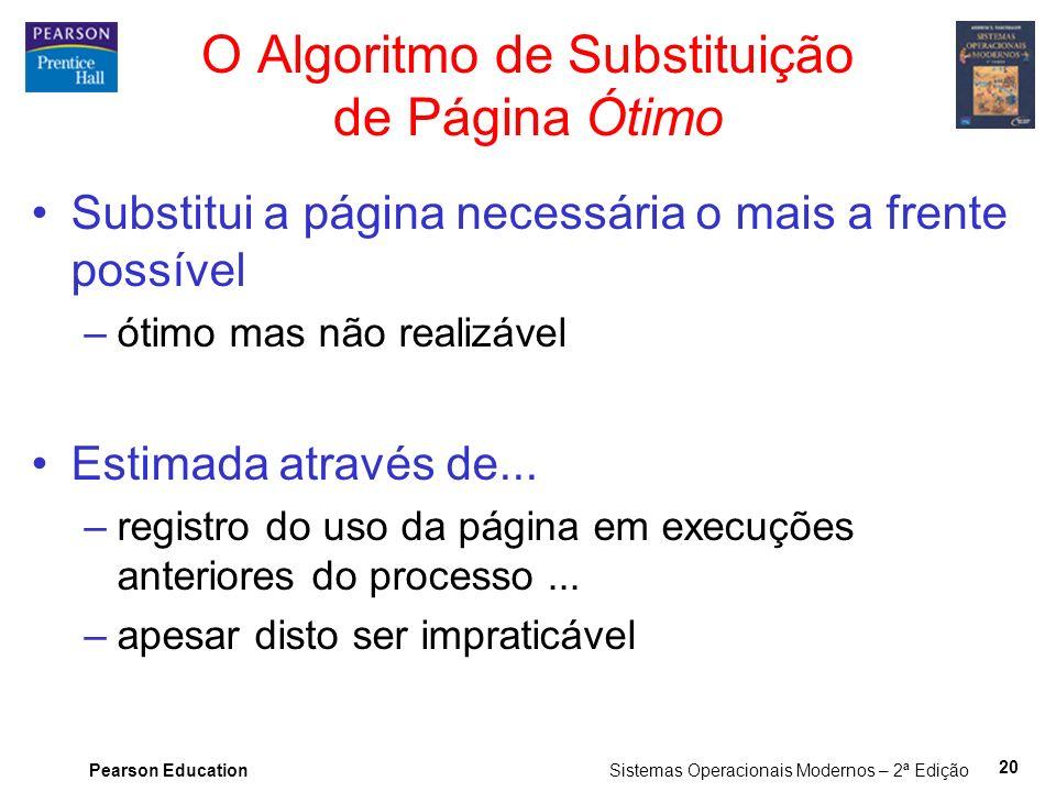 Pearson Education Sistemas Operacionais Modernos – 2ª Edição 20 O Algoritmo de Substituição de Página Ótimo Substitui a página necessária o mais a fre