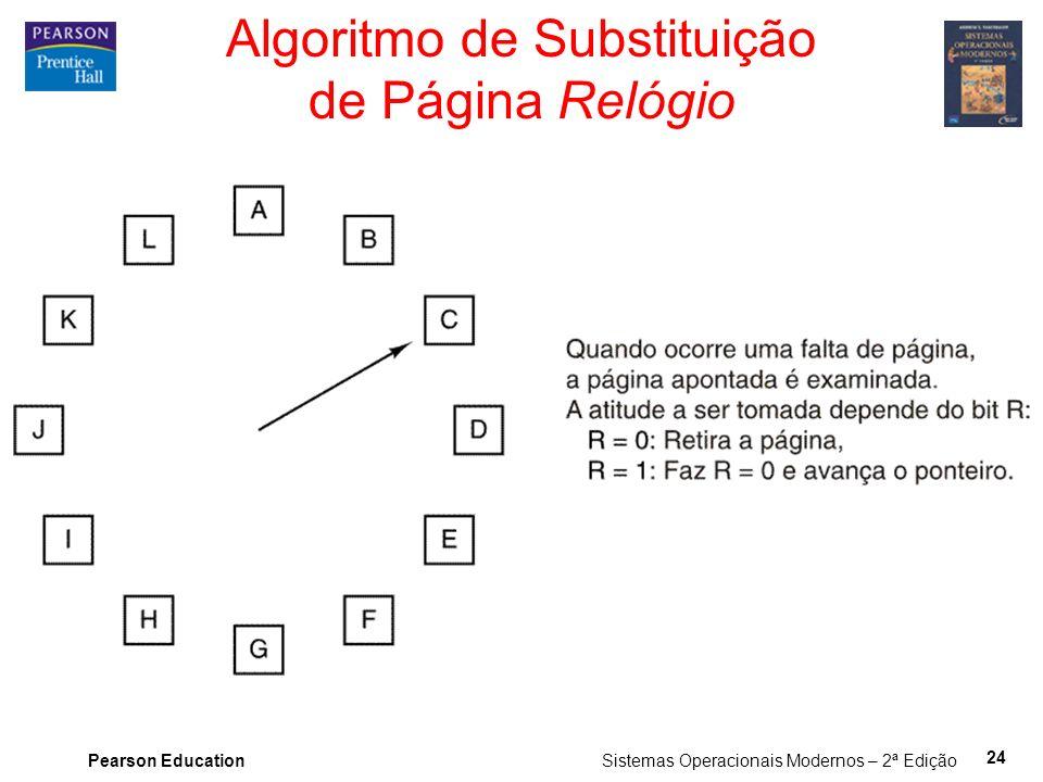 Pearson Education Sistemas Operacionais Modernos – 2ª Edição 24 Algoritmo de Substituição de Página Relógio