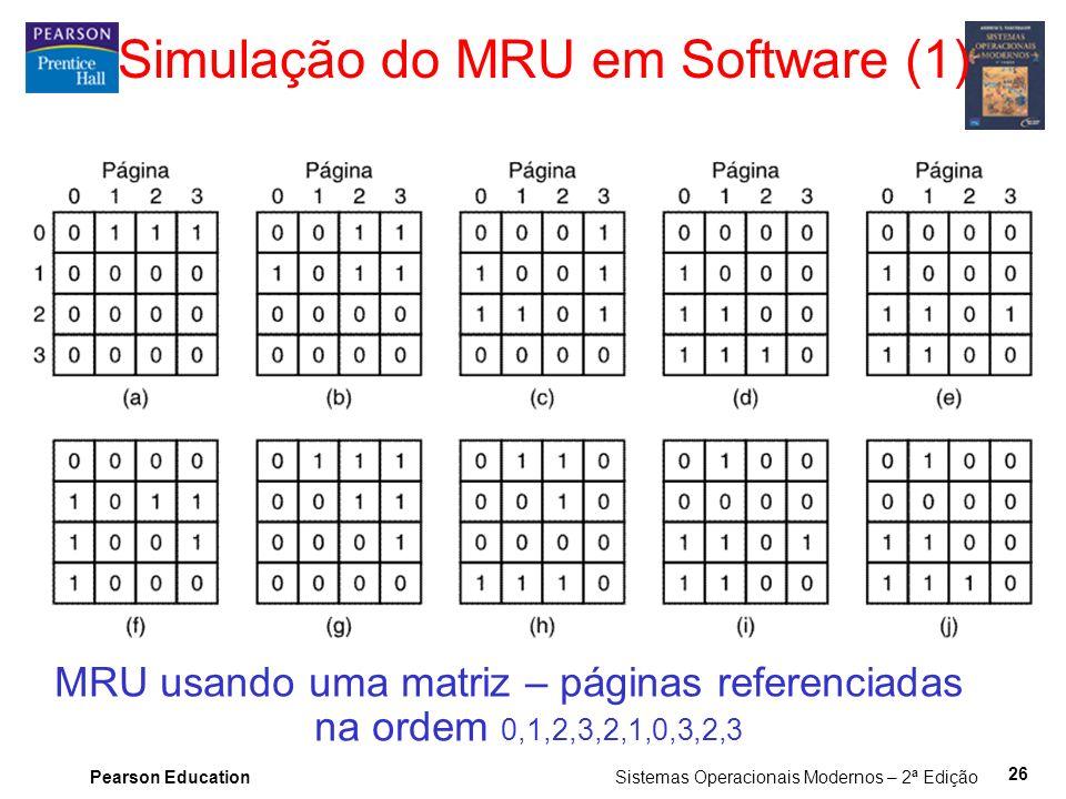 Pearson Education Sistemas Operacionais Modernos – 2ª Edição 26 Simulação do MRU em Software (1) MRU usando uma matriz – páginas referenciadas na ordem 0,1,2,3,2,1,0,3,2,3