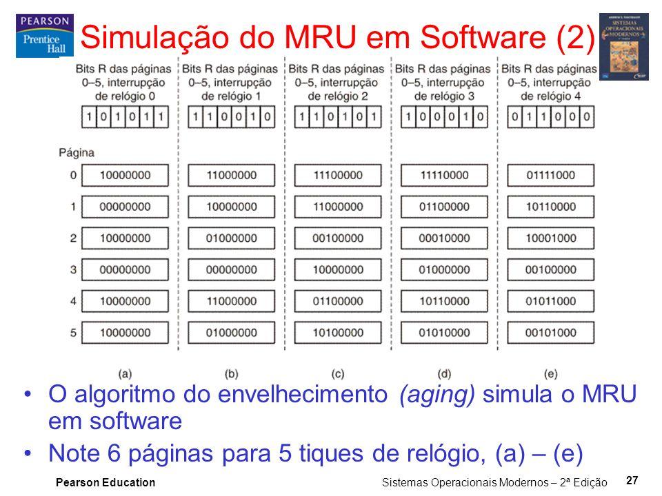 Pearson Education Sistemas Operacionais Modernos – 2ª Edição 27 Simulação do MRU em Software (2) O algoritmo do envelhecimento (aging) simula o MRU em software Note 6 páginas para 5 tiques de relógio, (a) – (e)