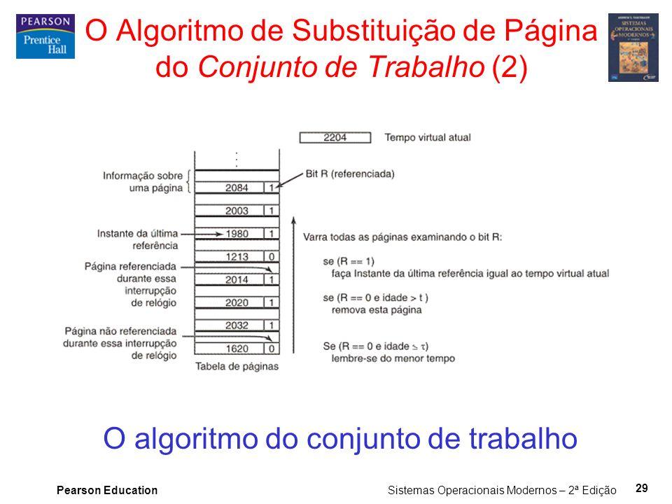 Pearson Education Sistemas Operacionais Modernos – 2ª Edição 29 O Algoritmo de Substituição de Página do Conjunto de Trabalho (2) O algoritmo do conjunto de trabalho