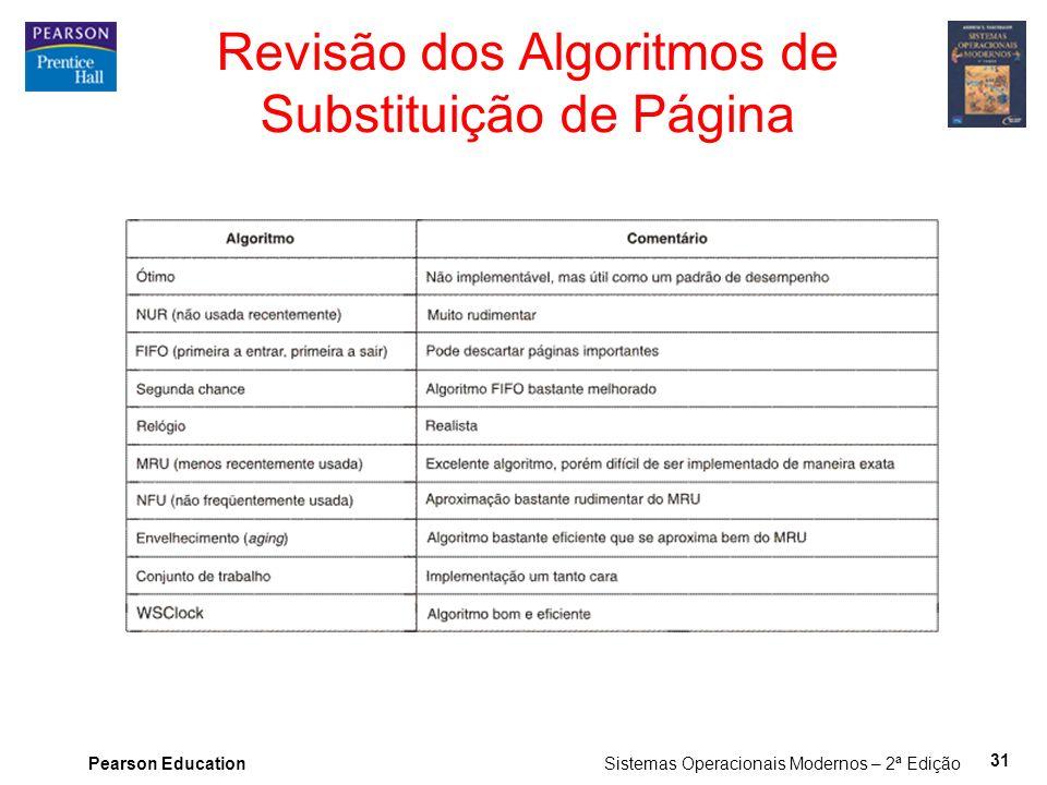 Pearson Education Sistemas Operacionais Modernos – 2ª Edição 31 Revisão dos Algoritmos de Substituição de Página