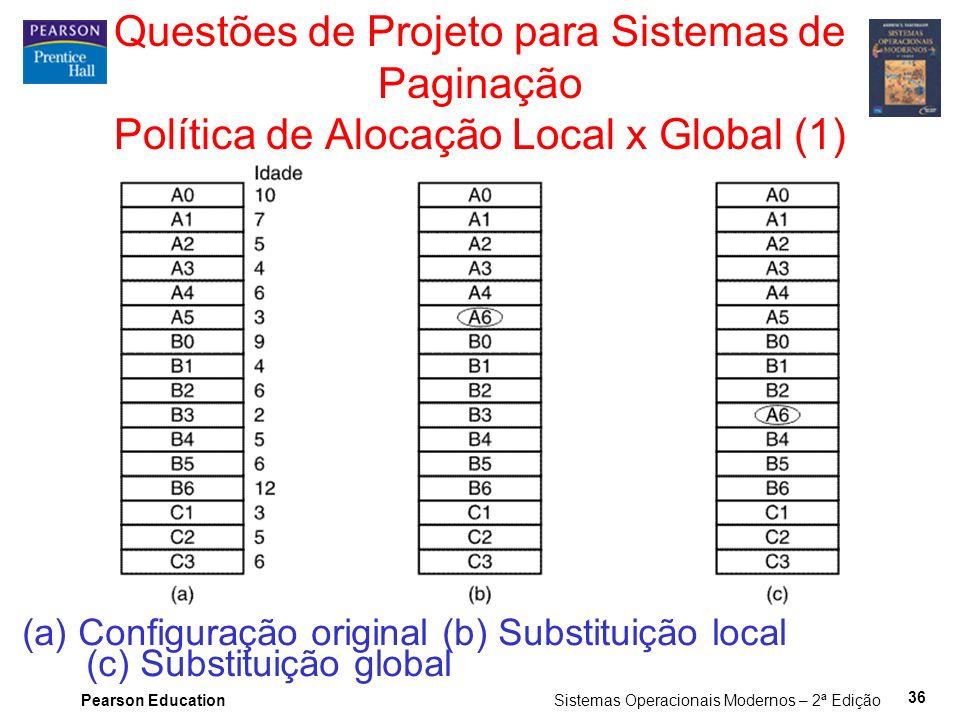 Pearson Education Sistemas Operacionais Modernos – 2ª Edição 36 Questões de Projeto para Sistemas de Paginação Política de Alocação Local x Global (1) (a) Configuração original (b) Substituição local (c) Substituição global