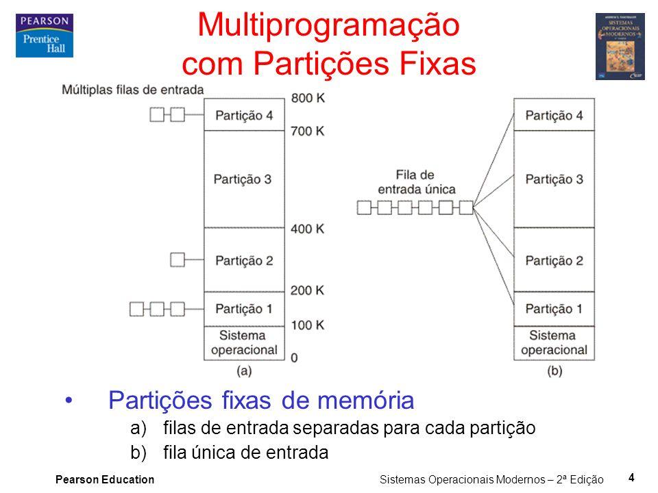 Pearson Education Sistemas Operacionais Modernos – 2ª Edição 4 Multiprogramação com Partições Fixas Partições fixas de memória a)filas de entrada separadas para cada partição b)fila única de entrada