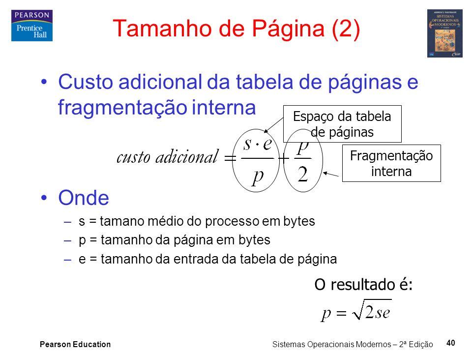 Pearson Education Sistemas Operacionais Modernos – 2ª Edição 40 Tamanho de Página (2) Custo adicional da tabela de páginas e fragmentação interna Onde –s = tamano médio do processo em bytes –p = tamanho da página em bytes –e = tamanho da entrada da tabela de página Espaço da tabela de páginas Fragmentação interna O resultado é: custo adicional