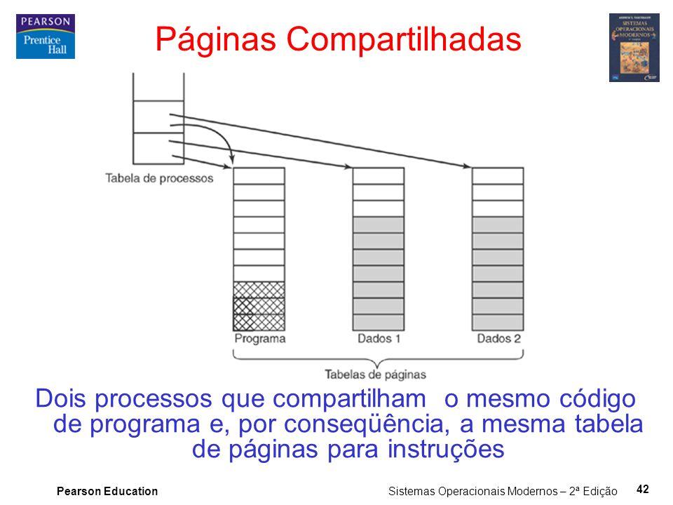 Pearson Education Sistemas Operacionais Modernos – 2ª Edição 42 Páginas Compartilhadas Dois processos que compartilham o mesmo código de programa e, por conseqüência, a mesma tabela de páginas para instruções