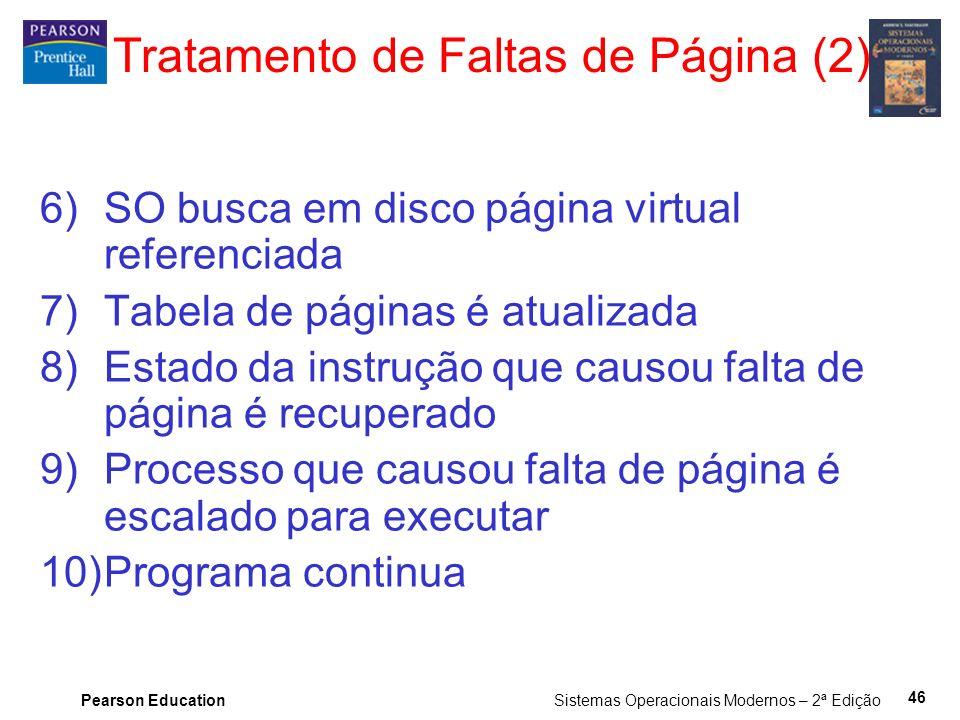 Pearson Education Sistemas Operacionais Modernos – 2ª Edição 46 Tratamento de Faltas de Página (2) 6)SO busca em disco página virtual referenciada 7)T