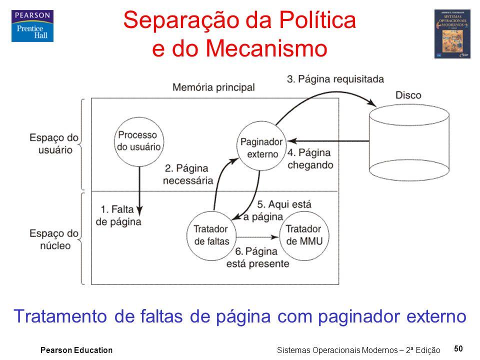 Pearson Education Sistemas Operacionais Modernos – 2ª Edição 50 Separação da Política e do Mecanismo Tratamento de faltas de página com paginador externo
