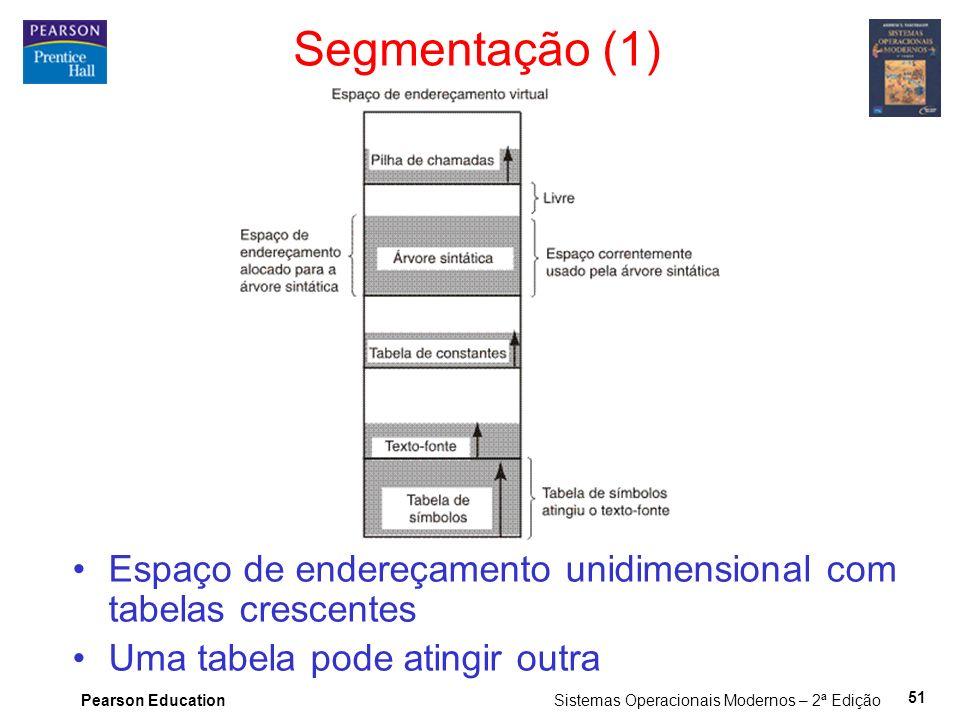 Pearson Education Sistemas Operacionais Modernos – 2ª Edição 51 Segmentação (1) Espaço de endereçamento unidimensional com tabelas crescentes Uma tabe