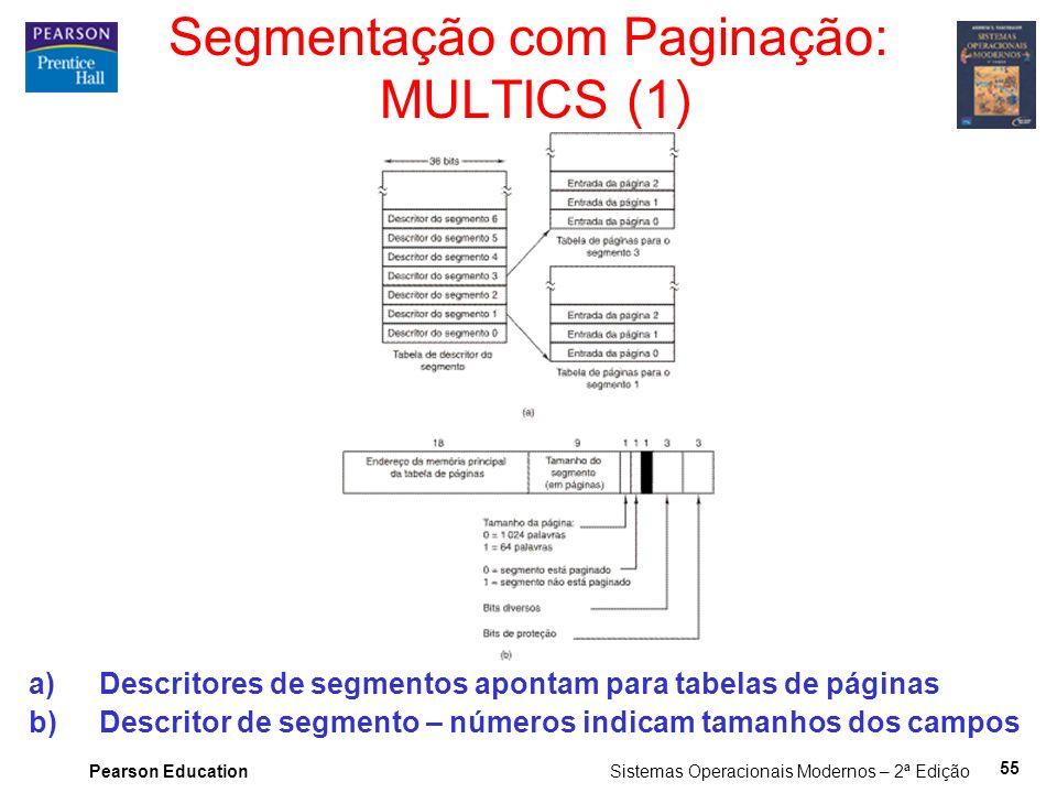 Pearson Education Sistemas Operacionais Modernos – 2ª Edição 55 Segmentação com Paginação: MULTICS (1) a)Descritores de segmentos apontam para tabelas de páginas b)Descritor de segmento – números indicam tamanhos dos campos
