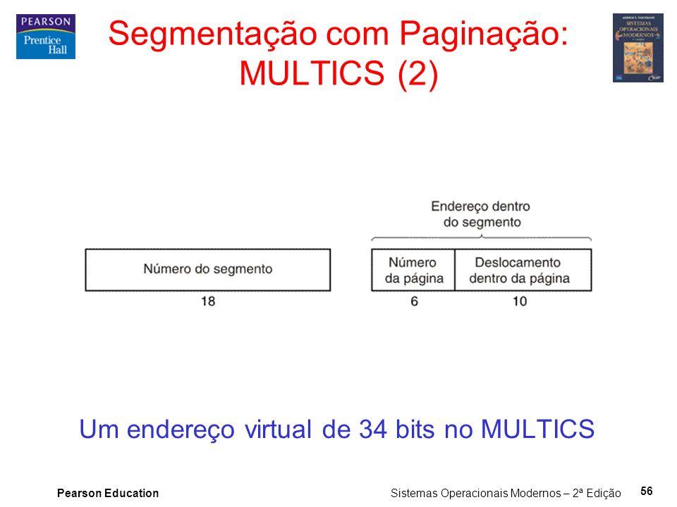 Pearson Education Sistemas Operacionais Modernos – 2ª Edição 56 Um endereço virtual de 34 bits no MULTICS Segmentação com Paginação: MULTICS (2)