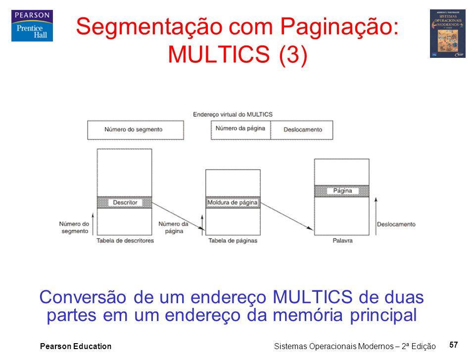 Pearson Education Sistemas Operacionais Modernos – 2ª Edição 57 Conversão de um endereço MULTICS de duas partes em um endereço da memória principal Segmentação com Paginação: MULTICS (3)