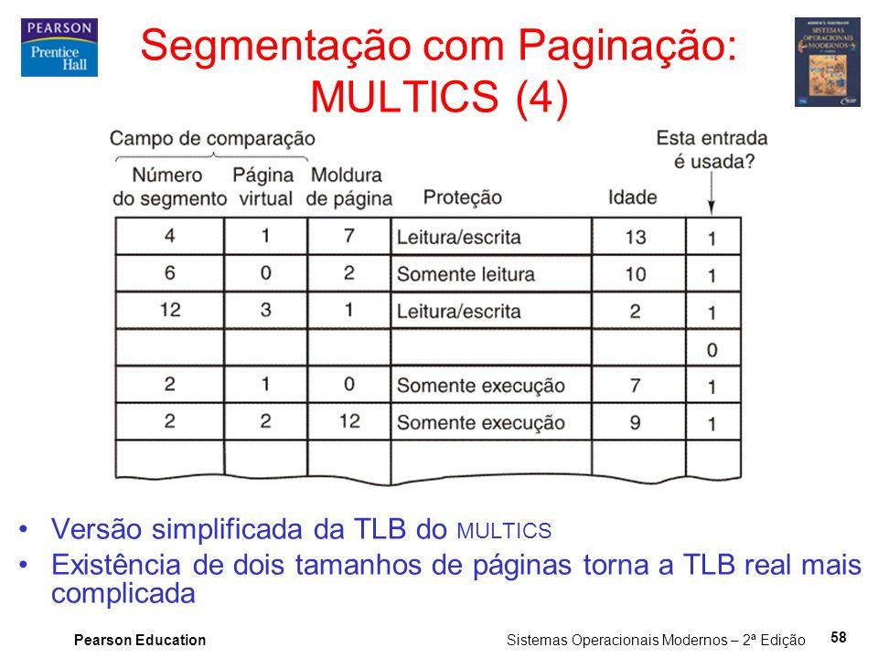 Pearson Education Sistemas Operacionais Modernos – 2ª Edição 58 Versão simplificada da TLB do MULTICS Existência de dois tamanhos de páginas torna a TLB real mais complicada Segmentação com Paginação: MULTICS (4)