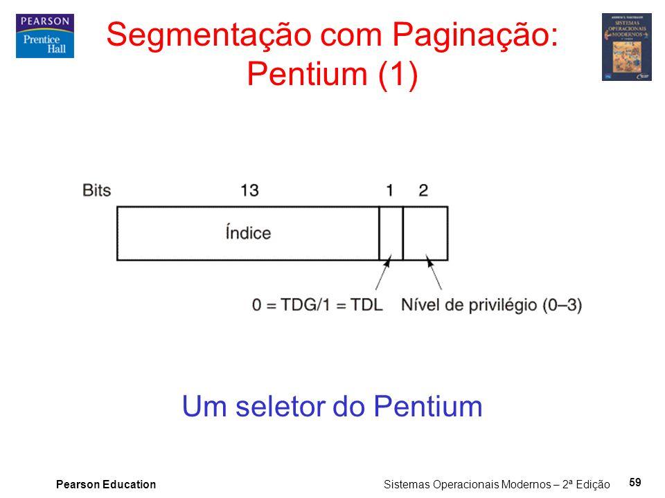 Pearson Education Sistemas Operacionais Modernos – 2ª Edição 59 Segmentação com Paginação: Pentium (1) Um seletor do Pentium