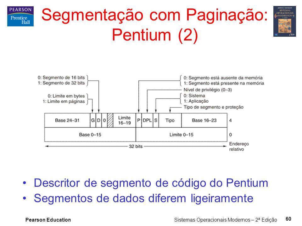 Pearson Education Sistemas Operacionais Modernos – 2ª Edição 60 Segmentação com Paginação: Pentium (2) Descritor de segmento de código do Pentium Segmentos de dados diferem ligeiramente